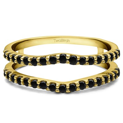 0.24 Ct. Black Stone Double Shared Prong Curved Ring Guard in Yellow Gold