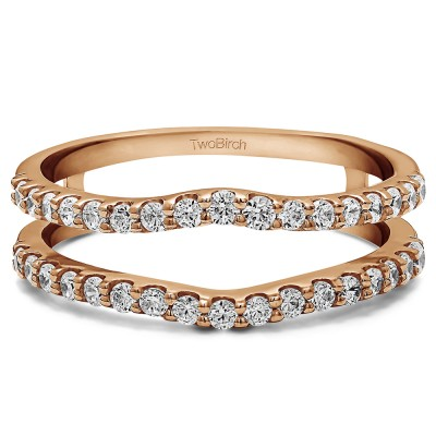 0.24 Ct. Double Shared Prong Curved Ring Guard in Rose Gold