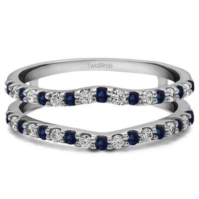 0.24 Ct. Sapphire and Diamond Double Shared Prong Curved Ring Guard