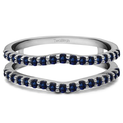 0.24 Ct. Sapphire Double Shared Prong Curved Ring Guard