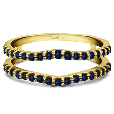 0.24 Ct. Sapphire Double Shared Prong Curved Ring Guard in Yellow Gold