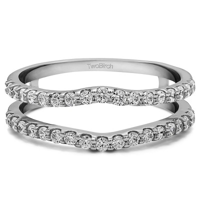 TwoBirch 1.01 Ct. Double Shared Prong Curved Ring Guard in Sterling Silver with Cubic Zirconia (Size 6)