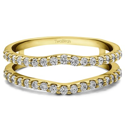 0.24 Ct. Double Shared Prong Curved Ring Guard in Yellow Gold
