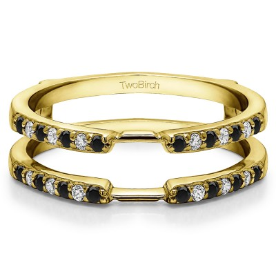 0.28 Ct. Black and White Stone Delicate Shared Prong ring guard in Yellow Gold