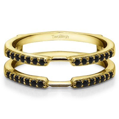 0.28 Ct. Black Stone Delicate Shared Prong ring guard in Yellow Gold