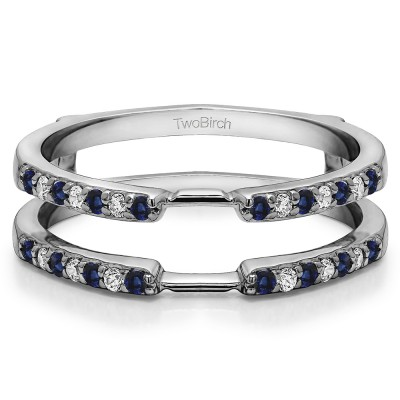 0.28 Ct. Sapphire and Diamond Delicate Shared Prong ring guard