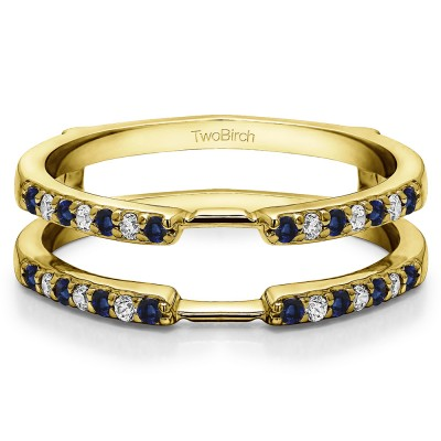 0.28 Ct. Sapphire and Diamond Delicate Shared Prong ring guard in Yellow Gold