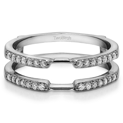 0.28 Ct. Delicate Shared Prong Ring Guard With Diamonds(G,I2) Mounted in 14k White Gold.(Size 10.5)
