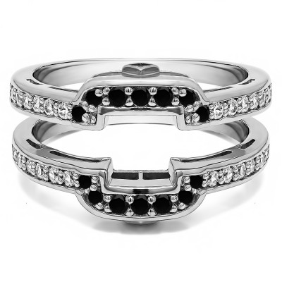 .50 Ct. Black and White Stone Square Halo Peek-a-Boo Wedding Ring Guard