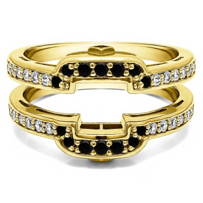 .50 Ct. Black and White Stone Square Halo Peek-a-Boo Wedding Ring Guard in Yellow Gold