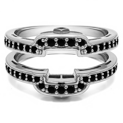 .50 Ct. Black Stone Square Halo Peek-a-Boo Wedding Ring Guard