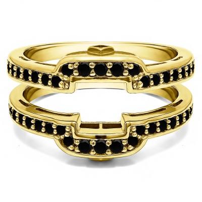 .50 Ct. Black Stone Square Halo Peek-a-Boo Wedding Ring Guard in Yellow Gold