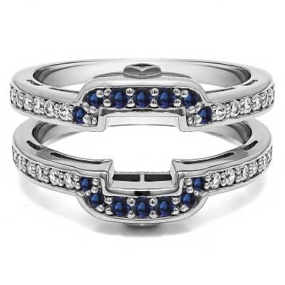 .50 Ct. Sapphire and Diamond Square Halo Peek-a-Boo Wedding Ring Guard