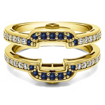 .50 Ct. Sapphire and Diamond Square Halo Peek-a-Boo Wedding Ring Guard in Yellow Gold