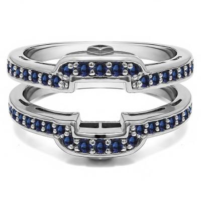.50 Ct. Sapphire Square Halo Peek-a-Boo Wedding Ring Guard