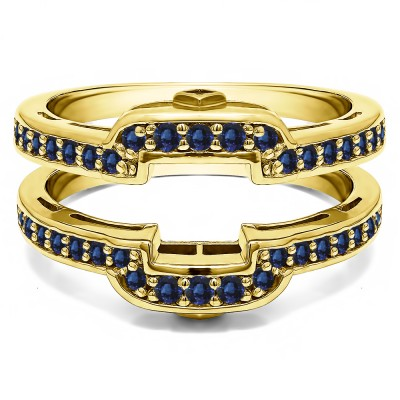 .50 Ct. Sapphire Square Halo Peek-a-Boo Wedding Ring Guard in Yellow Gold