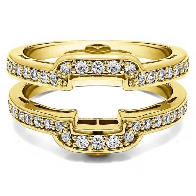 .50 Ct. Square Halo Peek-a-Boo Wedding Ring Guard in Yellow Gold