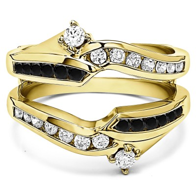 0.79 Ct. Black and White Stone Round Ying Yang Anniversary Ring Guard in Yellow Gold