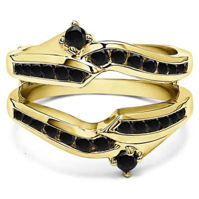 0.79 Ct. Black Stone Round Ying Yang Anniversary Ring Guard in Yellow Gold