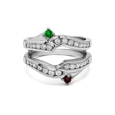 Genuine Birthstone Ying Yang Inspired Anniversary Ring Guard(0.79 Carat)
