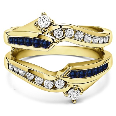 0.79 Ct. Sapphire and Diamond Round Ying Yang Anniversary Ring Guard in Yellow Gold