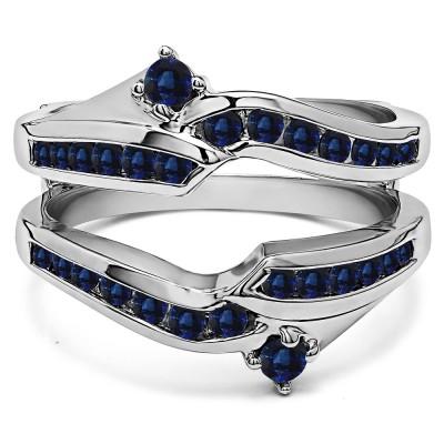 0.79 Ct. Sapphire Round Ying Yang Anniversary Ring Guard