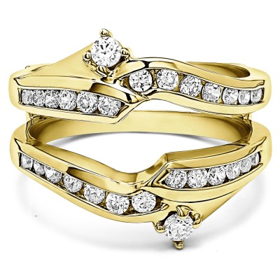 0.79 Ct. Round Ying Yang Anniversary Ring Guard in Yellow Gold