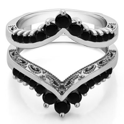 0.98 Ct. Black Stone Filigree Vintage Wedding Ring Guard With Black Cubic Zirconia Mounted in Sterling Silver (Size 7)