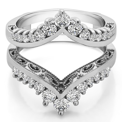 0.98 Ct. Filigree Vintage Wedding Ring Guard With Cubic Zirconia Mounted in Sterling Silver (Size 4 to 10)