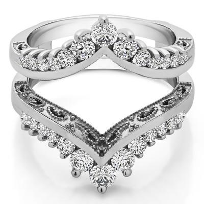 0.98 Ct. Filigree Vintage Wedding Ring Guard