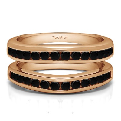 0.66 Ct. Black Stone Channel Set Contour Wedding Ring in Rose Gold