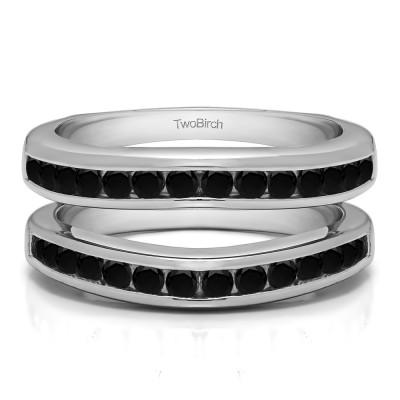 0.66 Ct. Black Stone Channel Set Contour Wedding Ring