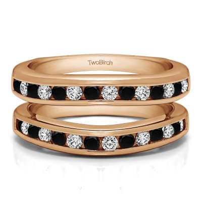 0.66 Ct. Black and White Stone Channel Set Contour Wedding Ring in Rose Gold