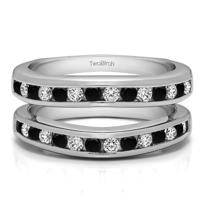 0.66 Ct. Black and White Stone Channel Set Contour Wedding Ring