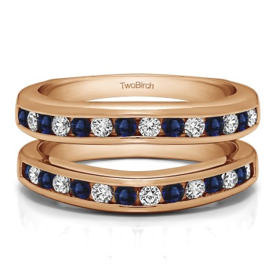 0.66 Ct. Sapphire and Diamond Channel Set Contour Wedding Ring in Rose Gold