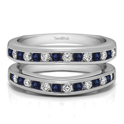 0.66 Ct. Sapphire and Diamond Channel Set Contour Wedding Ring