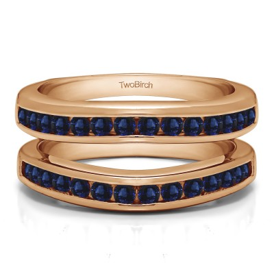 0.66 Ct. Sapphire Channel Set Contour Wedding Ring in Rose Gold