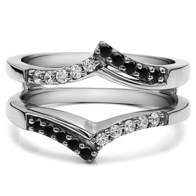 0.3 Ct. Black and White Stone Bypass Prong Set Wedding Ring Guard