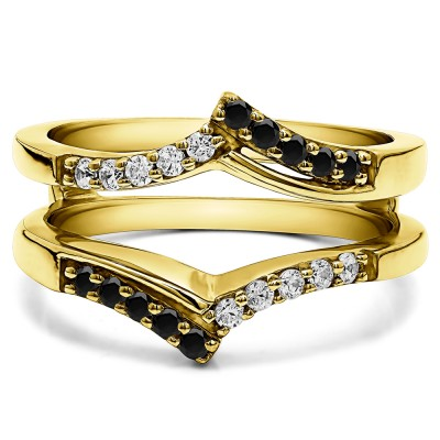 0.3 Ct. Black and White Stone Bypass Prong Set Wedding Ring Guard in Yellow Gold