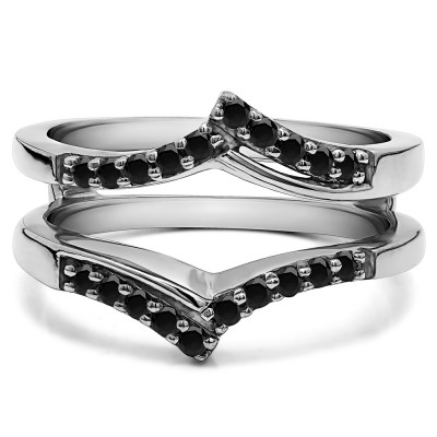 0.3 Ct. Black Stone Bypass Prong Set Wedding Ring Guard