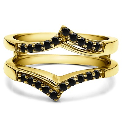 0.3 Ct. Black Stone Bypass Prong Set Wedding Ring Guard in Yellow Gold