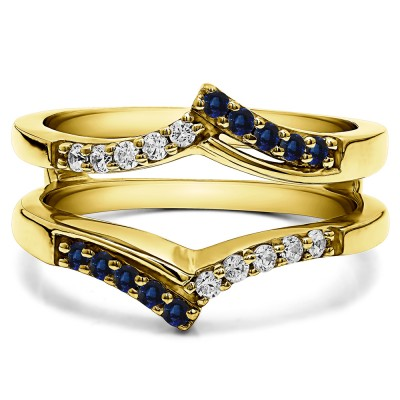 0.3 Ct. Sapphire and Diamond Bypass Prong Set Wedding Ring Guard in Yellow Gold