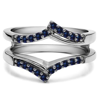 0.3 Ct. Sapphire Bypass Prong Set Wedding Ring Guard