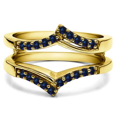 0.3 Ct. Sapphire Bypass Prong Set Wedding Ring Guard in Yellow Gold