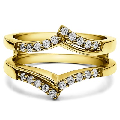 0.3 Ct. Bypass Prong Set Wedding Ring Guard in Yellow Gold