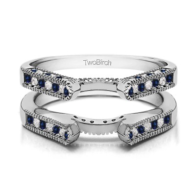 0.54 Ct. Sapphire and Diamond Vintage Cathedral Millgrain Ring Guard