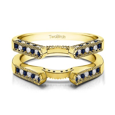 0.54 Ct. Sapphire and Diamond Vintage Cathedral Millgrain Ring Guard in Yellow Gold