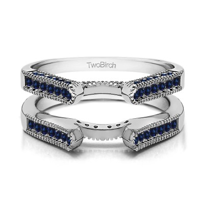 0.54 Ct. Sapphire Vintage Cathedral Millgrain Ring Guard