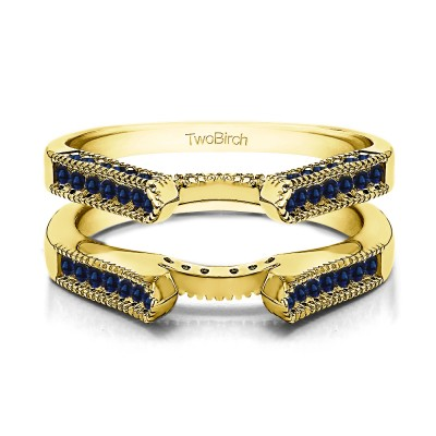 0.54 Ct. Sapphire Vintage Cathedral Millgrain Ring Guard in Yellow Gold