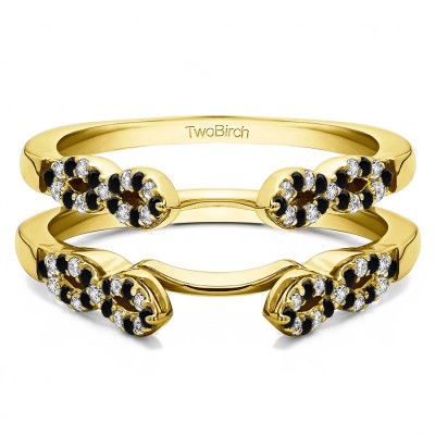 0.38 Ct. Black and White Stone Infinity Ring Guard Enhancer in Yellow Gold